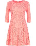 River Island Coral Lace Fit and Flare Dress - Lyst