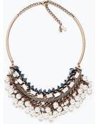 Zara Chain And Pearl Necklace - Lyst