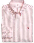 Brooks Brothers Supima Cotton Noniron Regular Fit Herringbone Stripe Oxford Sport Shirt - Lyst
