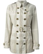 Burberry Brit Checked Trench Coat - Lyst