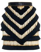 Balmain Fringed And Beaded Leather Mini Skirt - Lyst