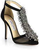 Jimmy Choo Fortune Suede Beaded T-Strap Sandals - Lyst