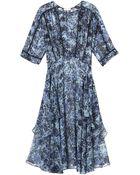 Rebecca Taylor Kiku Print Midi Layer Dress - Lyst