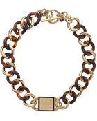 Michael Kors Resort Curb Chain Logo Plaque Necklace - Lyst