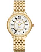 Michele Serein Diamond, Mother-Of-Pearl & 18K Goldplated Stainless Steel Bracelet Watch - Lyst