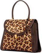 Laura De La Vega Marylin Leather Leopard Print Day Bag - Lyst