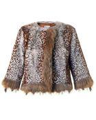 RED Valentino Leopard-Print Fur Jacket - Lyst