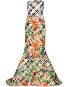 Oscar de la Renta Printed Silk-Faille Gown - Lyst
