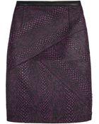 Tibi Leather Trimmed Cobra Jacquard Mini Skirt - Lyst