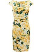 Oscar de la Renta Split Scoop Neck Dress with Belt - Lyst