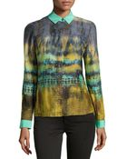 Lafayette 148 New York Fade-Print Charmeuse Blouse - Lyst