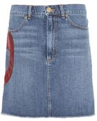 Marc Jacobs Embellished Denim Skirt - Lyst