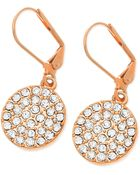 T Tahari 14k Rose Goldplated Pavé Crystal Drop Earrings - Lyst