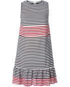 RED Valentino Frill Hem Striped Dress - Lyst