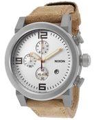 Nixon Men'S Ride Chronograph Camel Brown Genuine Leather Silver-Tone Dial - Lyst