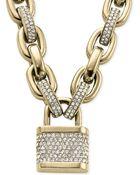 Michael Kors Pavé Padlock Necklace - Lyst