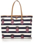 Tory Burch Kerrington Striped Pineapple-Print Faux Leather Tote - Lyst