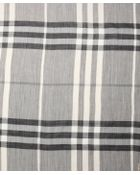Burberry Charcoal Giant Check Print Wool And Silk Woven Frayed Scarf - Lyst