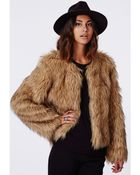 Missguided Belle Faux Fur Cropped Jacket Brown - Lyst