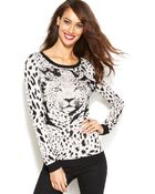 Inc International Concepts Leopard-Knit Sweater - Lyst