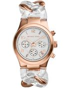 Michael Kors Womens Chronograph Clear and Rose Goldtone Stainless Steel Bracelet Watch 34mm - Lyst