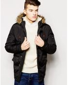 Brave Soul Parka Jacket Faux Fur Hood - Lyst