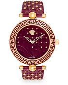 Versace Goldtone-Finished Stainless Steel Strap Watch/Purple - Lyst