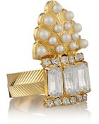 Elizabeth Cole Adeline Gold-Plated, Swarovski Crystal And Glass Pearl Ring - Lyst