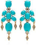 Oscar de la Renta Cabochon Stone And Crystal Earrings In Turquoise - Lyst