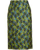 Antonio Berardi Palm Jacquard Pencil Skirt - Lyst