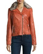 Bagatelle Faux-Fur Trimmed Leather Biker Jacket - Lyst