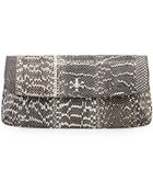 Tory Burch Diana Snakeskin Flap Clutch Bag - Lyst