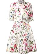 Oscar de la Renta Garden Print Belted Shirt Dress - Lyst