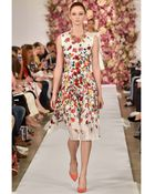 Oscar de la Renta Dégradé Poppy Print Silk Dress - Lyst