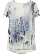 Helmut Lang Draped-Back Printed Jersey Top - Lyst