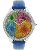 Betsey Johnson Ladies Multi Color Floral Crystal Dial Watch - Lyst