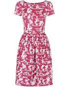 Oscar de la Renta Tweed Print Cotton Dress - Lyst