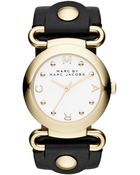 Marc By Marc Jacobs Women'S Molly Black Leather Strap Watch 36Mm Mbm1304 - Lyst