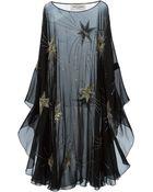 Saint Laurent Sheer Embroidered Dress - Lyst