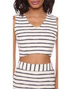 JOA Striped Crop Top - Ivory/Navy - Lyst