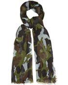 Valentino Camouflage-Print Cashmere-Blend Scarf - Lyst