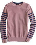 J.Crew Striped-Sleeve Sweater - Lyst