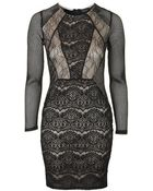 Topshop Cut-Out Lace Bodycon Dress - Lyst