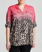 Calvin Klein Plus Ombre Animal Print Blouse - Lyst