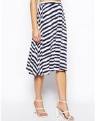 Asos Midi Skirt in Broken Stripe - Lyst