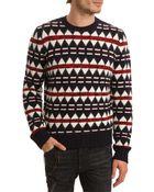 DSquared² Blue Angora Jacquard Wool Sweater - Lyst