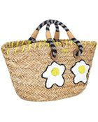 Anya Hindmarch Basket Eggs Embroidered Straw Tote Bag - Lyst