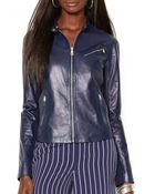 Ralph Lauren Lauren Leather Moto Jacket - Lyst