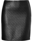 Ralph Lauren Black Label Woven Leather Skirt - Lyst