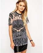Asos Top In Burnout With Deco Print - Lyst